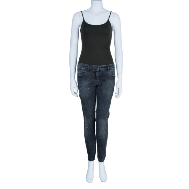 Dolce and Gabbana Charcoal Distressed Skinny Jeans M