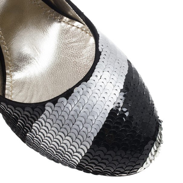 Dolce and Gabbana Black and Silver Sequin Pumps Size 38