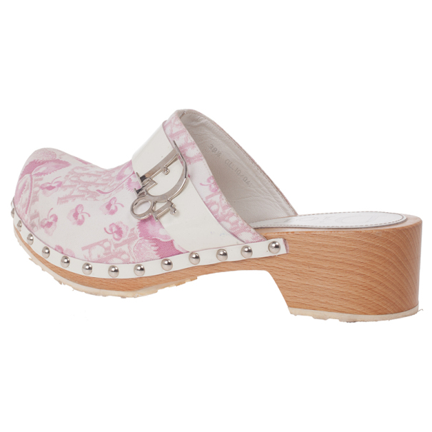 Dior Pink Diorissimo Wooden Clogs Size 38.5