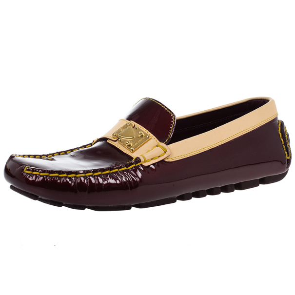 Louis Vuitton Maroon Patent Leather Zen Loafers Size 38.5