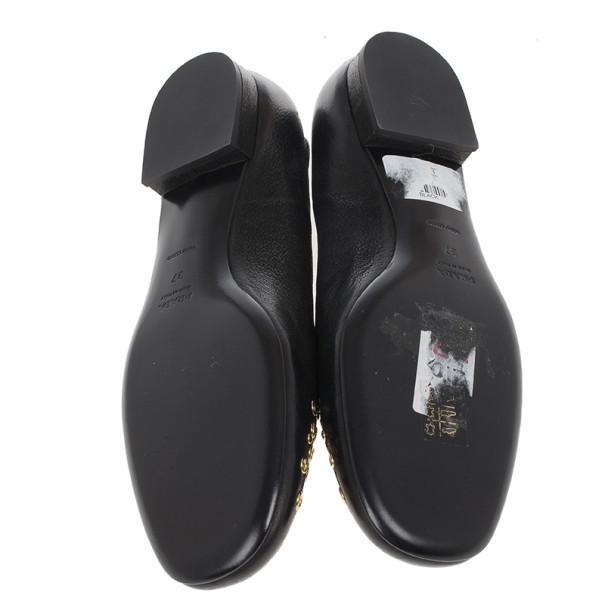 Prada Black Leather Gold Eyelet Ballet Flats Size 37