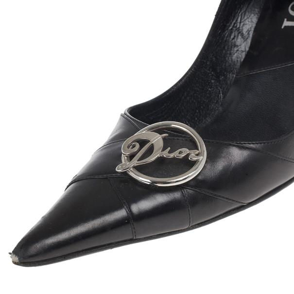 Dior Black Pointed Toe Logo Pumps Size 37