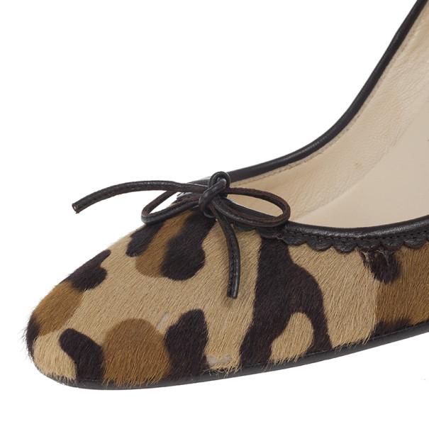 Christian Louboutin Leopard Pony Hair Bow Pumps Size 37.5
