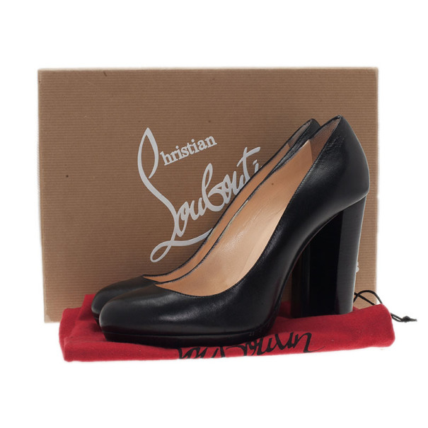Christian Louboutin Black Leather Grapi Block Heel Pumps Size 38