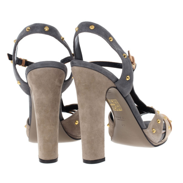 Gucci Brown Suede Jacqueline Studded Sandals Size 41
