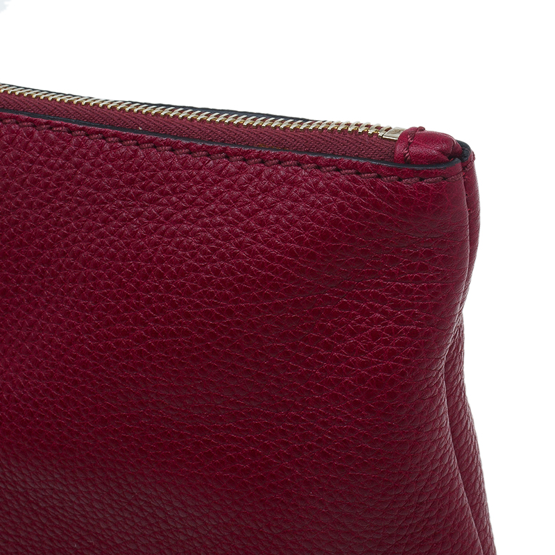 Valentino Red Pebbled Leather Flat Clutch