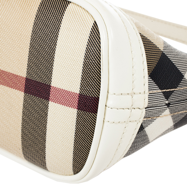 Burberry Small Canvas and Leather Check Shoulder Bag