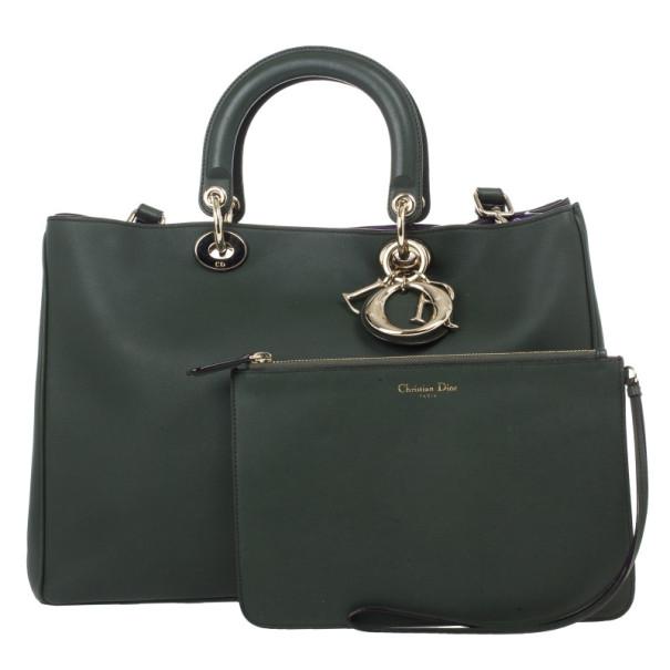 Dior Large Green Smooth Calfskin Diorissimo Bag