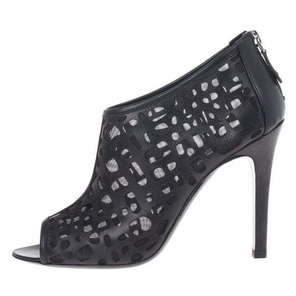 Chanel Black Leather Cut Out Ankle Boots 38