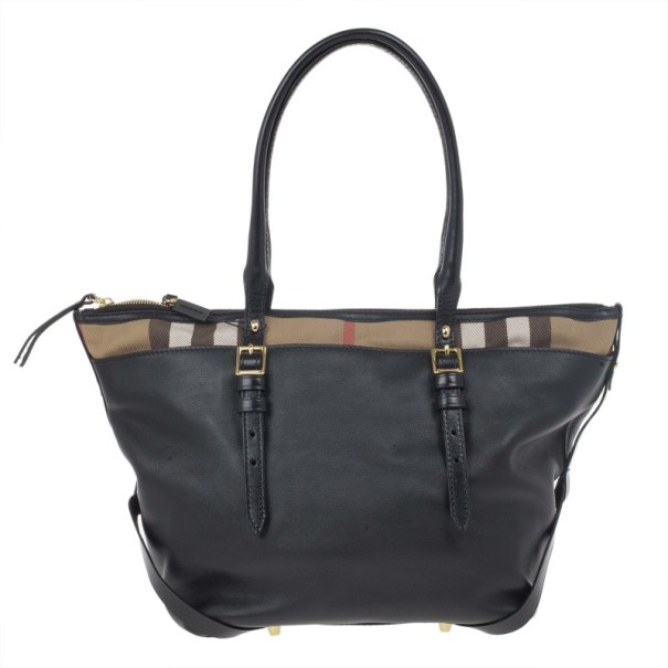 Burberry Black House Check Canvas and Soft Leather Salisbury Tote