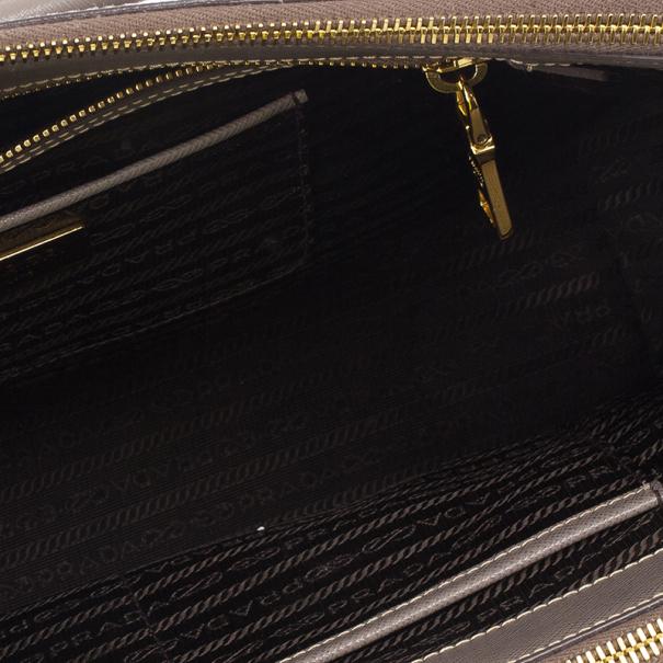 Prada Grey Argilla Saffiano Lux Double Zip Tote