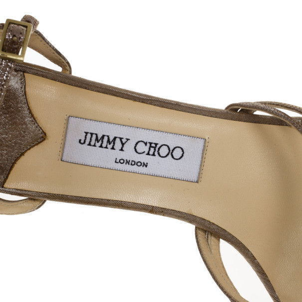 Jimmy Choo Bronze Metallic Thong Strappy Sandals Size 39.5