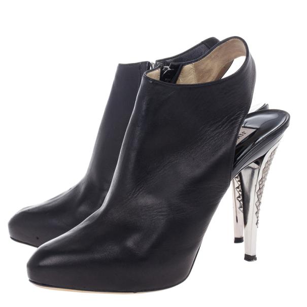 Jimmy Choo Black Leather Slingback Booties Size 39.5
