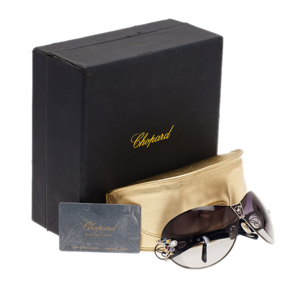 Chopard Black and Blue SCH 806S Embellished Shield Sunglasses