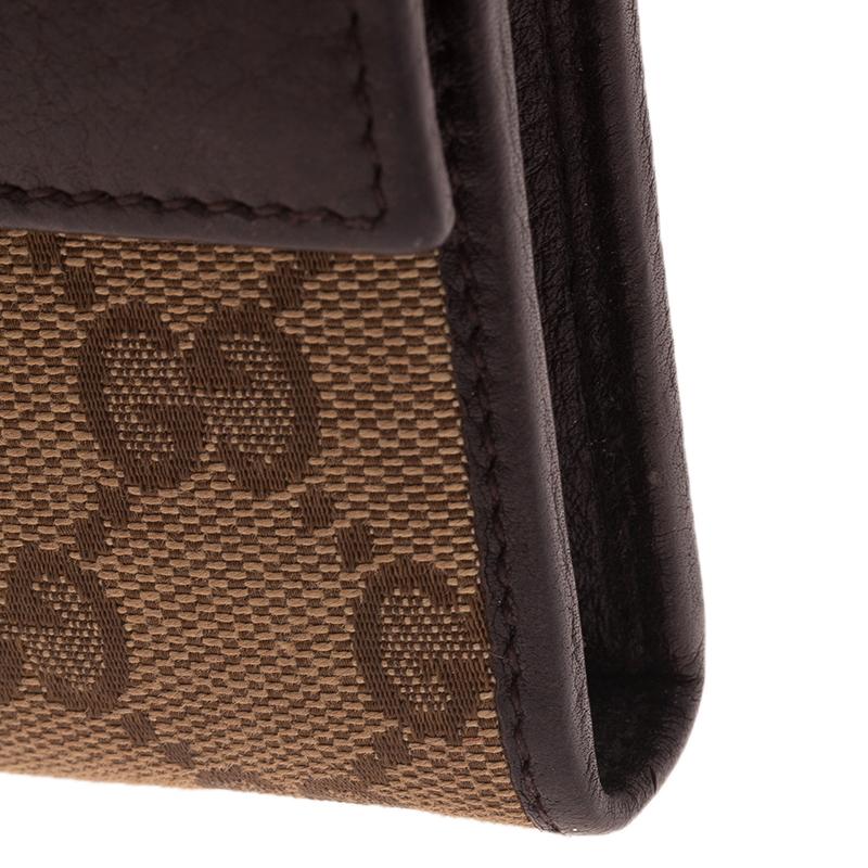 Gucci Beige Guccissima Canvas Web Detail Continental Wallet