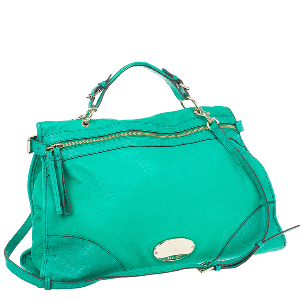 Mulberry Jungle Green Leather Satchel