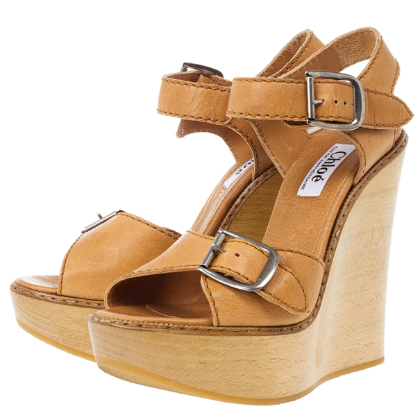 Chloe 60th Anniversary Beige Leather Wooden Wedge Sandals Size 38.5