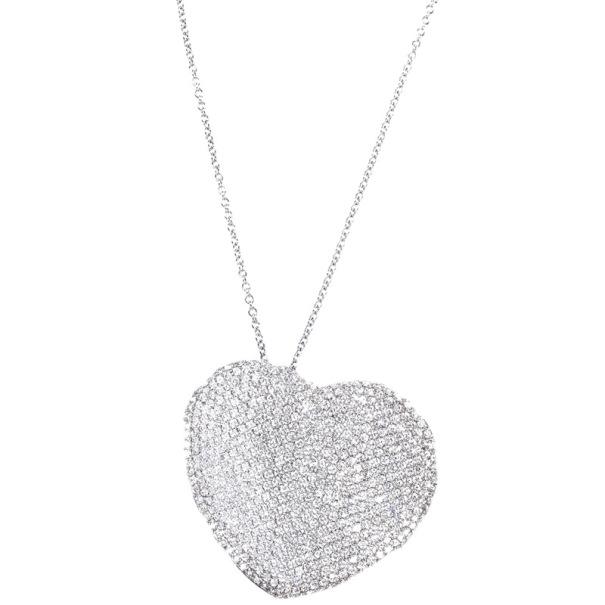 Pasquale Bruni Diamond Pave Setting Heart White Gold Pendant Necklace