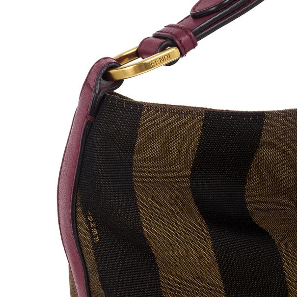 Fendi Brown Pequin Hobo Bag