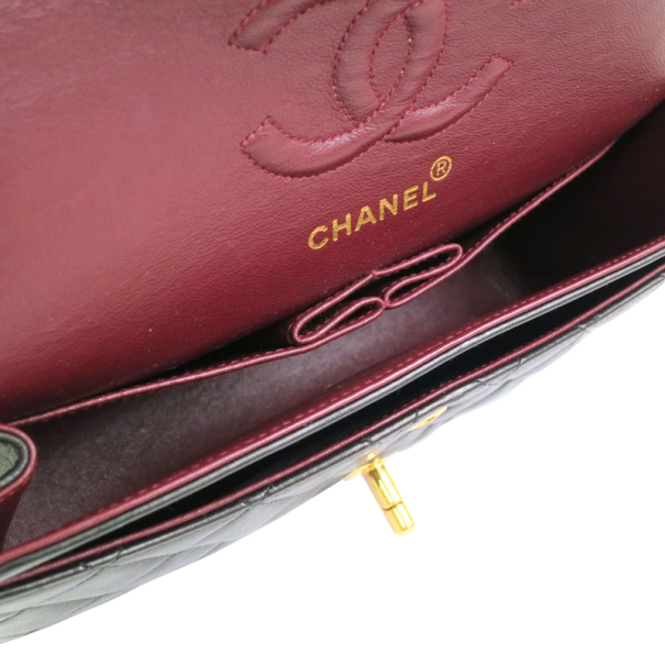 Chanel Black Lamb Skin Leather Double Shoulder Flap Bag Small