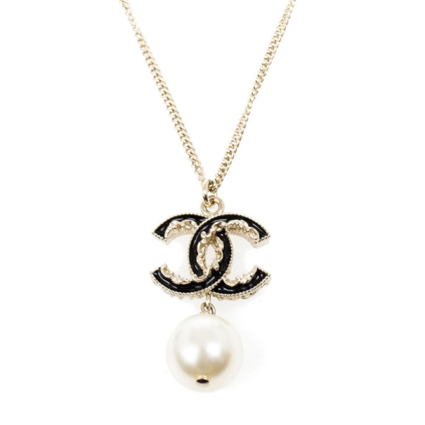 Chanel CC Black Enamel and Dangle Pearl Necklace