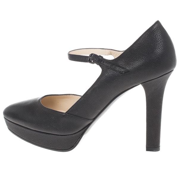 Bottega Veneta Black Leather Mary Jane Platform Pumps Size 38.5