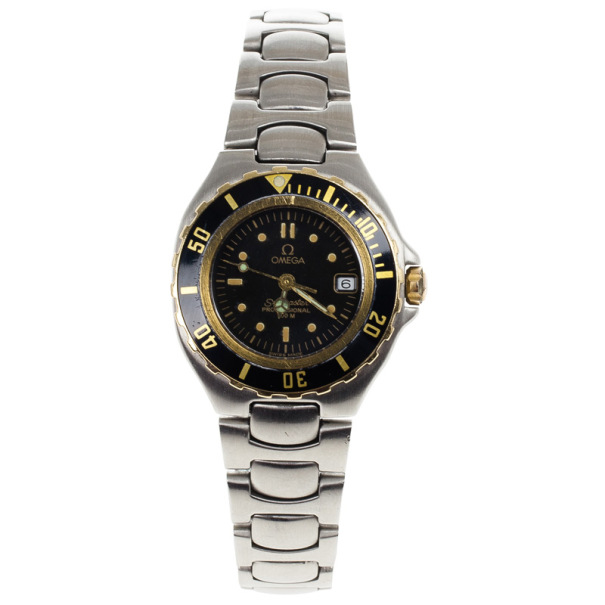 Omega Black Stainless Steel Seamaster Women's Wristwatch 26MM