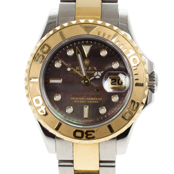Rolex Mother of Pearl Gold Yacht-Master Women's Wristwatch 29MM