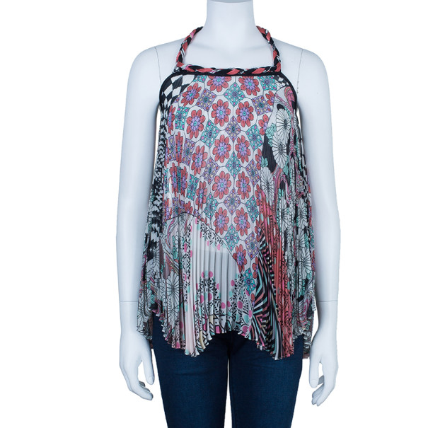 Matthew Williamson Pleated Floral Trapeze Top S