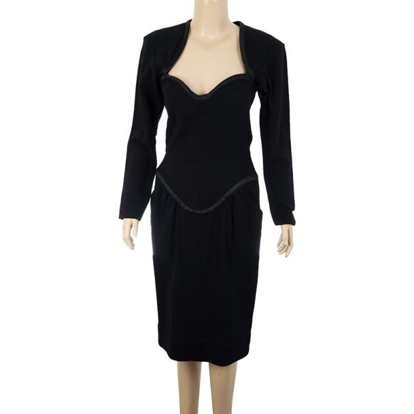 Saint Laurent Black Stretch Long Sleeve Dress M