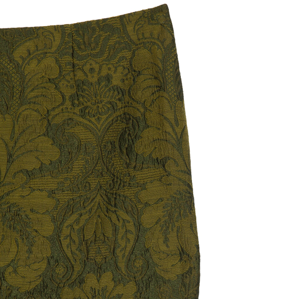 Gianfranco Ferre Green Brocade Skirt XL
