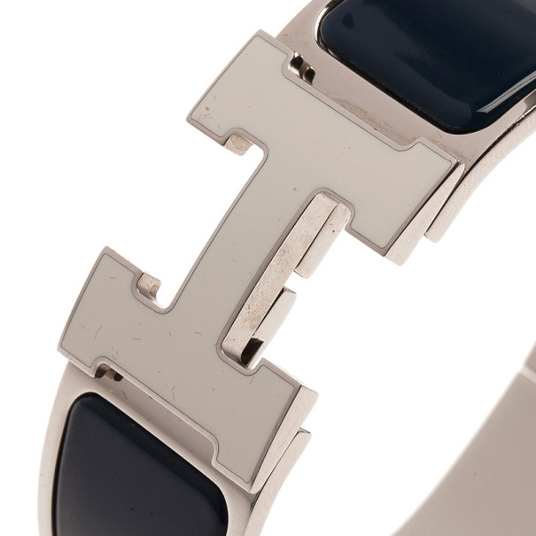 Hermes Clic Clac H Wide Blue Enameled White H Palladium Plated Bracelet PM
