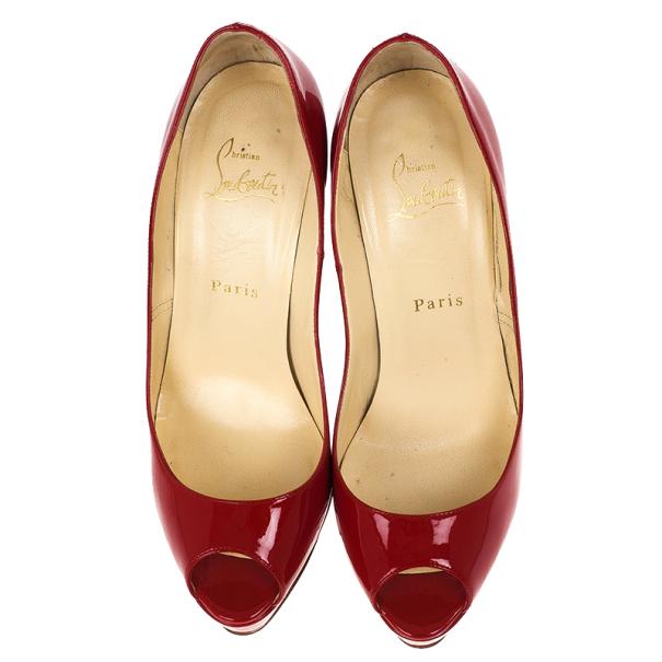 Christian Louboutin Red Patent Lady Peep Platform Pumps Size 38
