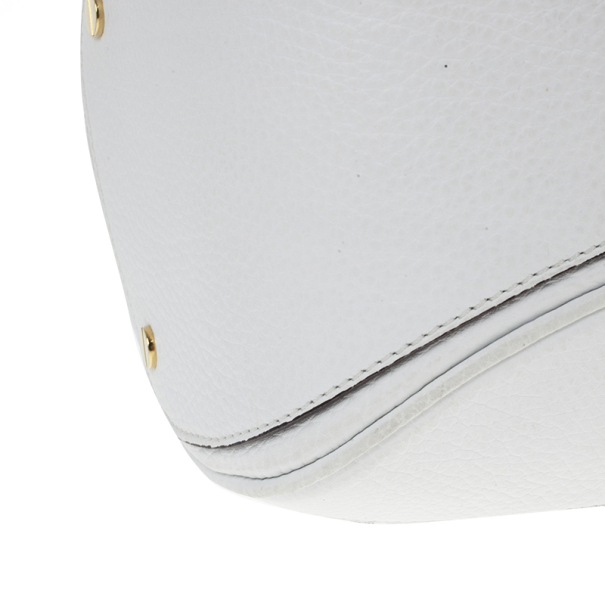 Versace White Leather Zip Tote Large