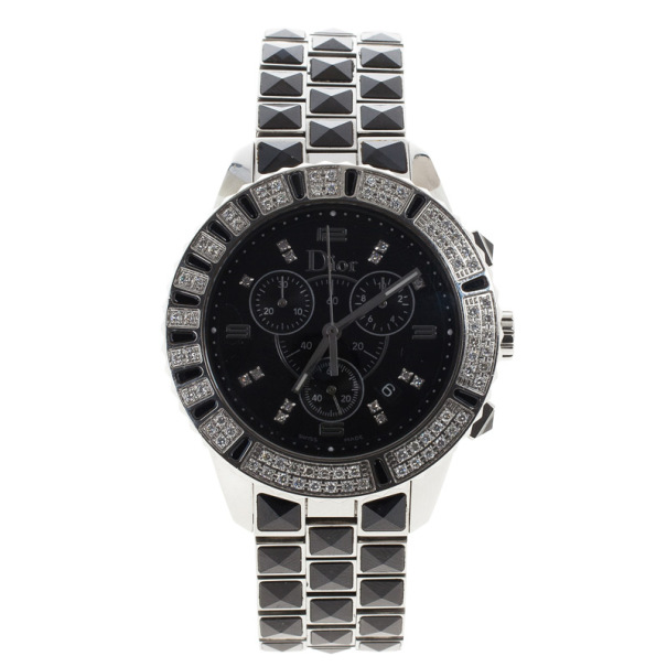 Dior Black Stainless Steel Christal Women's Wristwatch 40MM
