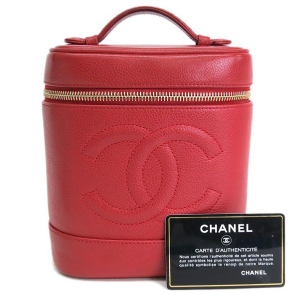 Chanel Red Caviar Cosmetic Vanity Bag