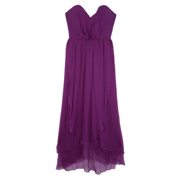 Saint Laurent Paris Fuchsia Gathered Dress M