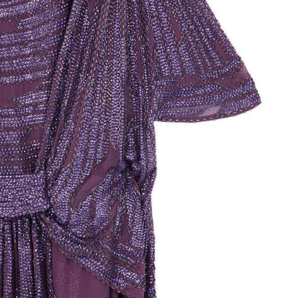 Elie Saab Purple Beaded Wide Sleeve Overlay Mini Dress M