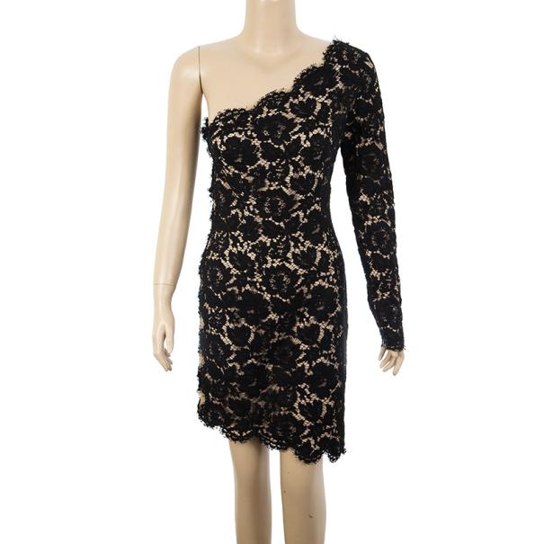 Stella McCartney Black One Shoulder Lace Dress S