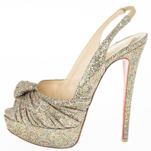 Christian Louboutin Glittered Jenny Platform Slingback Sandals Size 36.5