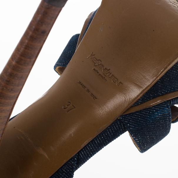 Saint Laurent Paris Blue Denim Platform Tribute Sandals Size 37