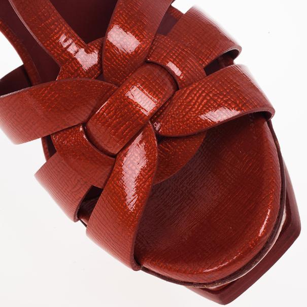 Saint Laurent Paris Red Patent Platform Tribute Sandals Size 36.5