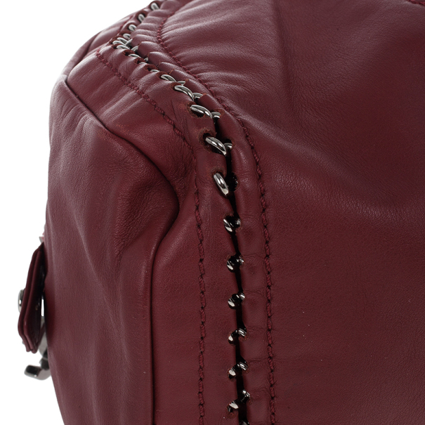 Chanel Maroon Leather Chain Trim Luxe Ligne Bowler Boston Duffle Bag