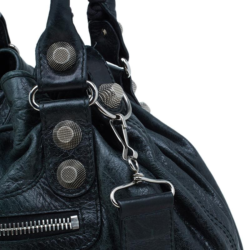 Balenciaga Dark Green Leather Giant 12 Mini Pompon Tote bag