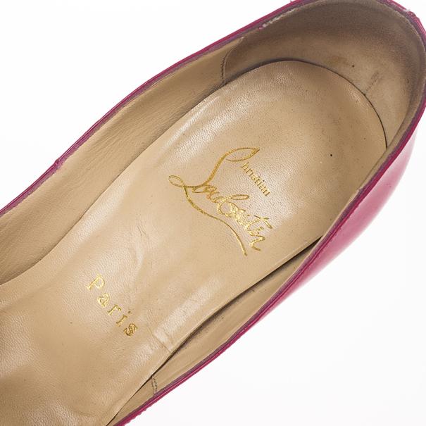 Christian Louboutin Pink Patent Lady Peep Toe Platform Pumps Size 37