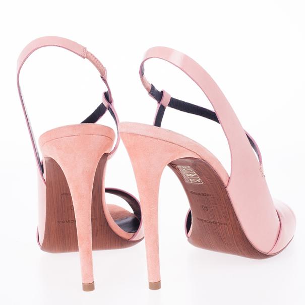 Balenciaga Pink Leather Neo Manhattan Slingback Sandals Size 40