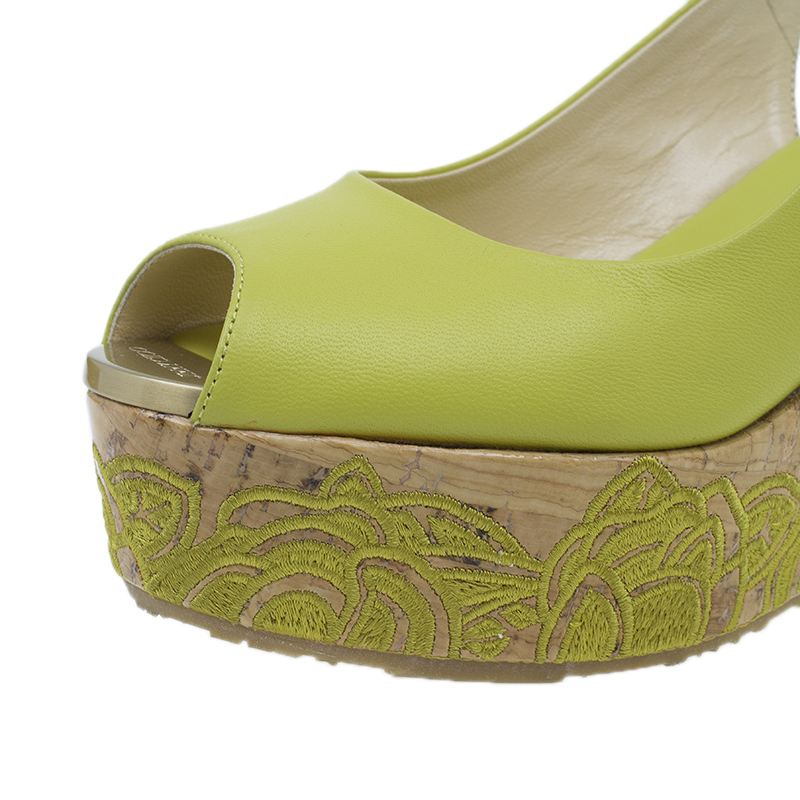 Jimmy Choo Yellow Leather Praise Cork Wedge Sandals Size 35.5