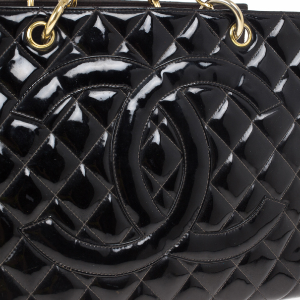 Chanel Black Vintage Patent GST Grand Shopping Tote Bag