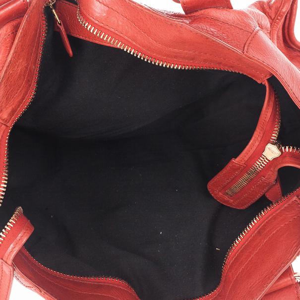 Balenciaga Red Lambskin Giant Part Time