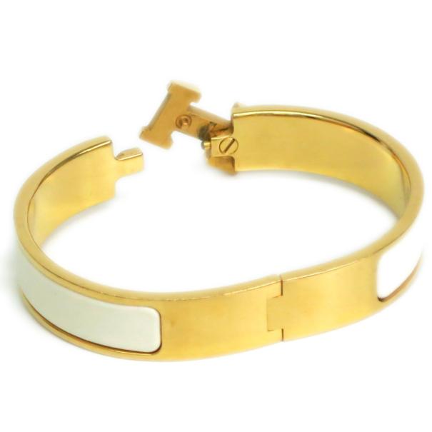 Hermes Clic Clac H White Enameled Gold Plated Bracelet PM